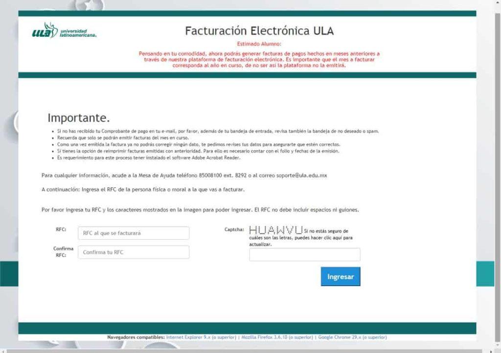 Facturación electrónica ULA
