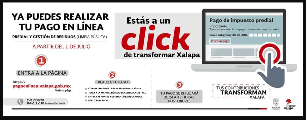 Pasos para pagar el predial Xalapa en línea