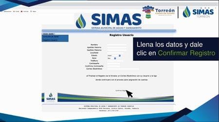 Confirmar registro SIMAS