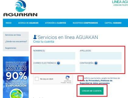 Crear cuenta Aguakan
