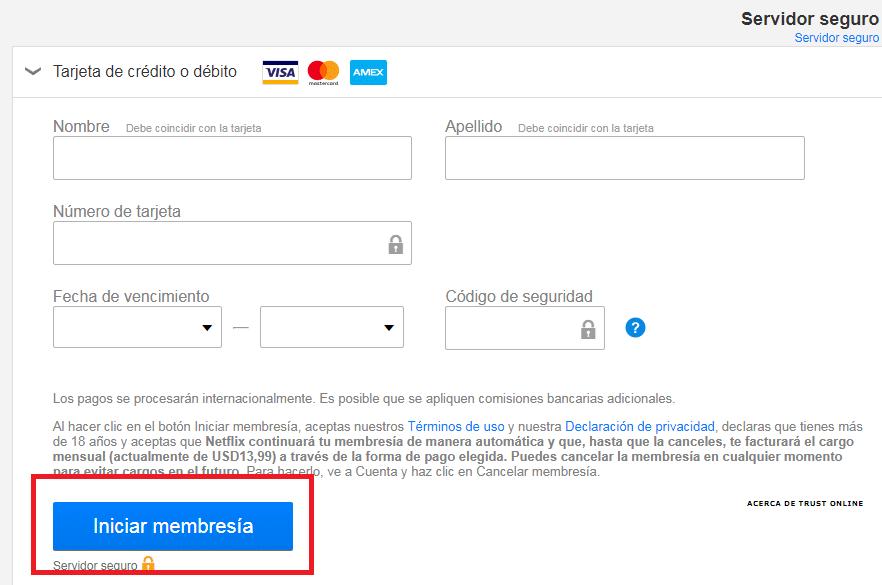 Datos de pago netflix