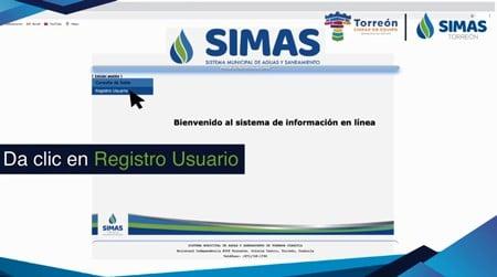 Registro de usuario en plataforma SIMAS